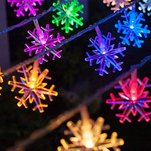 MoKo Snowflake String Lights, 5m/16ft 40 LED Waterproof Lights, 2 Lighting Modes, Battery Powered Fairy Light for Halloween Christmas Weddings Birthday Family School Parties Décor - Multi Color