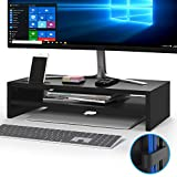 1home Wood Monitor Stand TV PC Laptop Computer Screen Riser Desk Storage 2 Tier Black, W540 x D255 x H142mm (with Smartphone Holder and Cable Management)