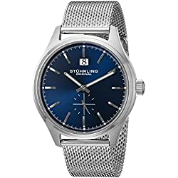 Stuhrling Original Men's Quartz Watch with Blue Dial Analogue Display and Silver Stainless Steel Bracelet 790.03