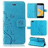 betterfon | Flower Case Handytasche Schutzhülle Blumen Klapptasche Handyhülle Handy Schale für HTC One A9s Blau