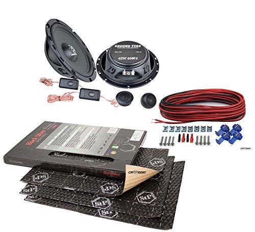 Citroen C1 (2.Gen.) (ab 14) Ground Zero Lautsprecher Boxen 165mm Vordere Türen mit Premium Dämmung STP Black Silver Shop Pack (8 Panels je 375x265x1,8mm)