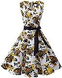 Bridesmay Donna Anni '50 Abiti Vintage V-Neck Retro Cocktail Audrey Vestito Yellow Flower S