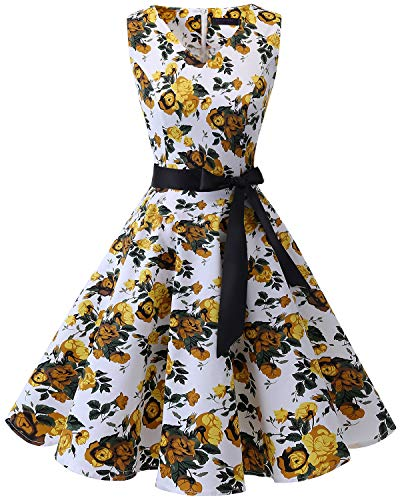 bridesmay 1950er V-Ausschnitt Kleid Vintage Cocktailkleid Rockabilly Retro Schwingen Kleid FaltenrockYellow Flower S