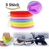 5x Silikon Schwamm Scrubber,Vanyda Küche Werkzeug Schale Waschen Haushalt Reinigung