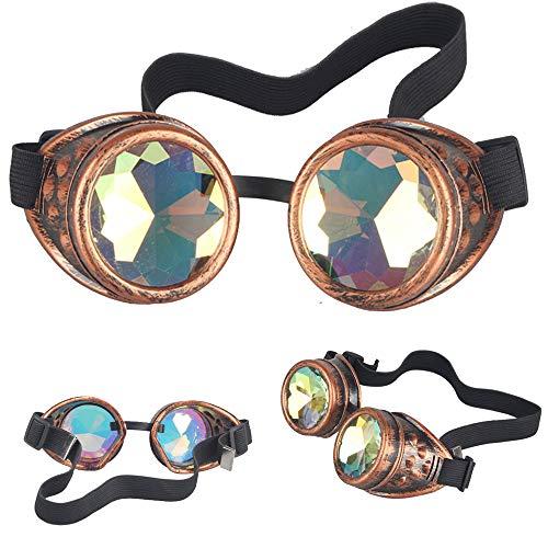 KOLCY Steampunk Brillen Coole Schutzbrillen Kaleidoskop Partybrillen Rotkupfer Rund Schmuck Sonnenbrille Accessoire Retro Einstellbar