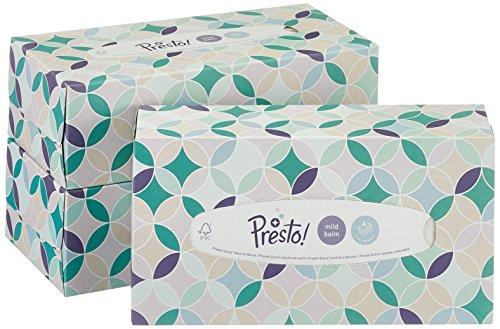 Amazon-Marke: Presto! 4-lagige Papiertaschentücher-Boxen mit milder Lotion, 12er Pack (12 x 80 Tücher) -