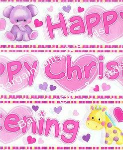 Eurowrap Baby Taufe Wand Banner Pack & Weiß mit Baby Tiere (EW) (Baby Hippo Kostüme)