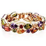 FLORAY Weihnachtsgeschenk für Frauen Wassertropfen Mehrfarbige Kristall Bangle Armbänder Armreifen Modeschmuck