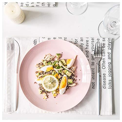 YYF Vaisselle en céramique de ménage coréen - steak/pâtes/plat 20.5 cm (Color : Pink)