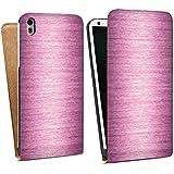 HTC Desire 816 Tasche Hülle Flip Case Metal Look - Pink Metall Rosa Pink