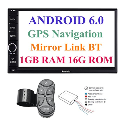 Panlelo PA012SWC Android 6.0 Head Unit Car Stereo Car GPS Navigation 7 inch Car Radio Touch Screen Bluetooth WIFI Mirror Link SWC Quad Core 1GB RAM 16GB ROM AM/FM/RDS