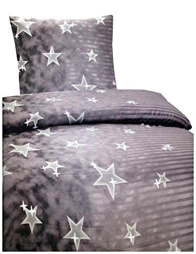 6 teilige Bettwäsche Microfaser 135x200 cm Sterne Streifen grau anthrazit Garnitur Set mit Bettlaken 90-100x200 cm Sparset