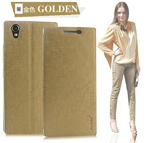 Original Pudini® Golden colour yusi series Flip Case For Lenovo P70 with free screen guard