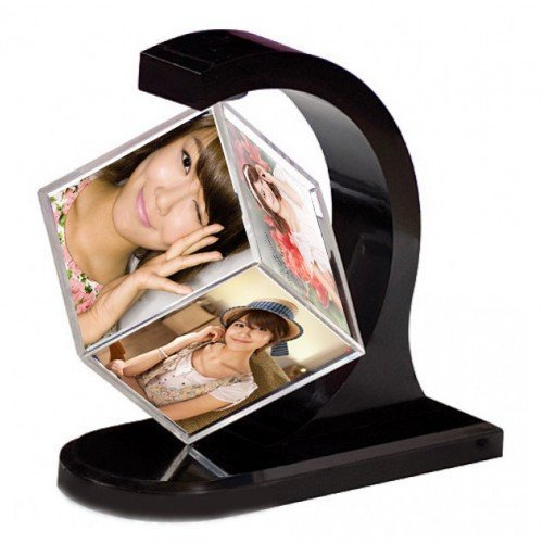 Atorakushon Rotating Photo Frame 360 Degree Magical Magnetic Floating Photo Cube Frame Home Decor And Gift (Multicolor)