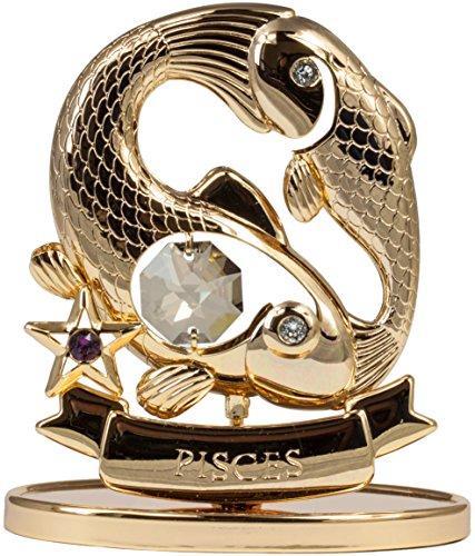 Sternzeichen Fisch Figur mit Kristallen goldfarben MADE WITH SWAROVSKI ELEMENTS