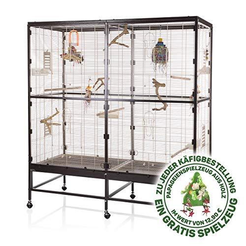 Montana Cages ®   Vogelvoliere Paradiso 150   Choco - Vanille   artgerechter Wellensittichkäfig   Voliere für Wellensittiche, Nymphensittiche & Co.