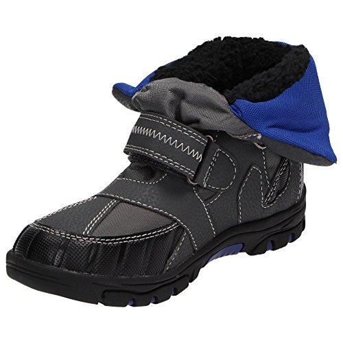Canadians 467101 bottes garçon hiver de bottes de neige-doublure chaude et imperméable fermeture velcro noir/gris/vert, rose et gris/bleu Bleu - Bleu
