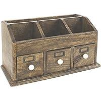 Polished Natural Solid Wood Desk Organiser or Letter Rack