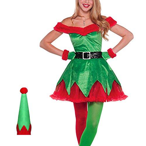Damen Weihnachtskostüm Elfe Weihnachten Elfe Sexy Weihnachten (Damen Uk Kostüm Elfen)