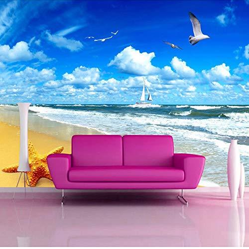 Lsfhb Benutzerdefinierte Strand Landschaft Seestern Blauer Himmel 3D Foto Hintergrund Computer Gedruckt Wohnzimmer Tv Fotografie Hintergrund Wandbild Tapete-400X280Cm