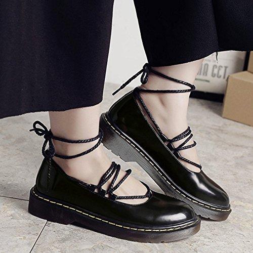 COOLCEPT Damen Mode-Event Lacu Up Schuhe mit Absatz Geschlossene Pumps Gladiator Schuhe Schwarz