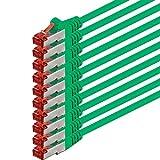 1aTTack - Cable de red SSTP PIMF con 2 conectores RJ45 de doble apantallamiento CAT 6 0 verde - 10 unidades 2 m
