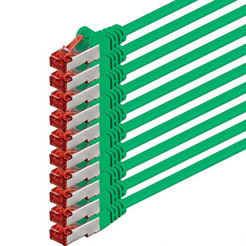 1aTTack CAT6PIMF SSTP Netzwerk Patch-Kabel mit 2x RJ45Stecker doppelt geschirmt 5Stück - grün - 10 Stück 1,0 Meter