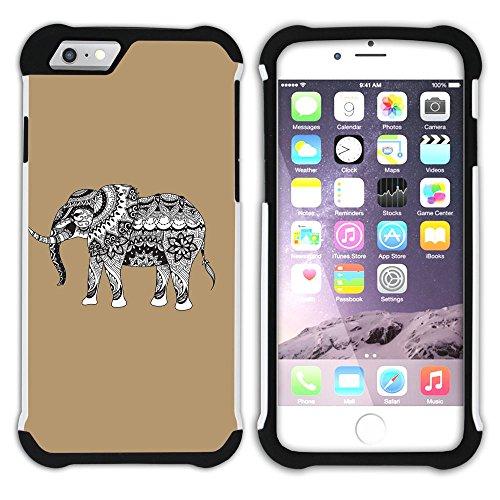 Graphic4You Stammes- Elefant (Wasserblau) Hart + Weiche Kratzfeste Hülle Case Schale Tasche Schutzhülle für Apple iPhone 6 Plus / 6S Plus Hellbraun
