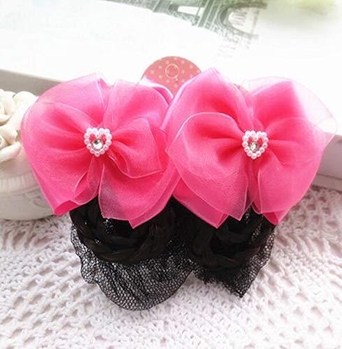 WEILIVE, 2 Stück schöne Tanz-Haarknoten, Haarnetz, für Kinder und Mädchen, rosig, 5 cm