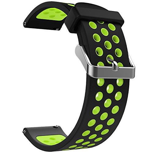 Emibele 22mm Allgemein Uhrenarmband, Premium Weiches Silikon Verstellbarer Ersatzgurt für 22mm Sport Strap, Schwarz und Grün