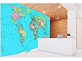 Oedim Vinyl Wand Blauer Hintergrund der politischen Weltkarte | Verschiedene Maße 200x150 cm | Dekor Esszimmer, Wohnzimmer, Zimmer …