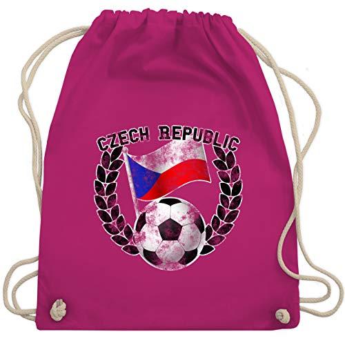 Fußball - Czech Republic Flagge & Fußball Vintage - Unisize - Fuchsia - WM110 - Turnbeutel & Gym Bag