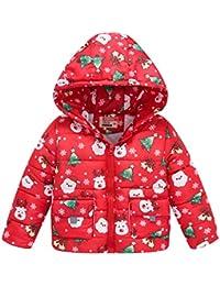 YWLINK Abrigo De Navidad NiñOs NiñAs Manga Larga Invierno Chaqueta Gruesa Abrigo con Capucha con Cremallera Ropa De AlgodóN Ropa De Abrigo A Prueba De Viento Al Aire Libre