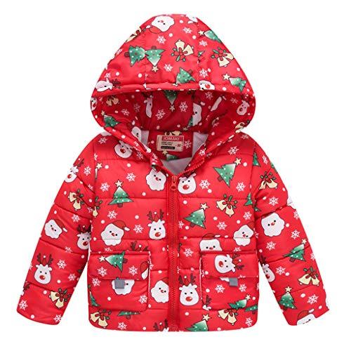 DQANIU Babys Jacke, Kleinkind Kind Mädchen/Jungen Weihnachten niedlich gedruckt Herbst/Winter Dicke warme Kapuzenmantel Outwear, 12M-10Y