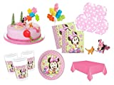 XXL Party Deko Set mit Torten Deko 1.Geburtstag Minnie Baby Kindergeburtstag Partygeschirr Kuchen Deko für 16 Personen rosa Mädchen