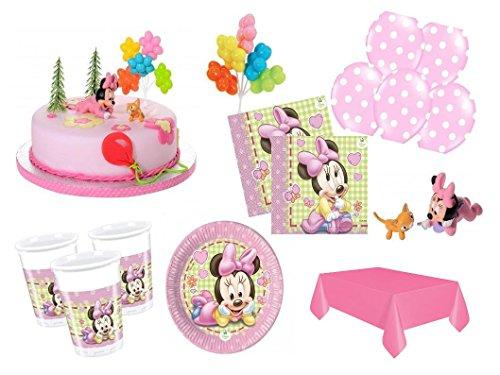 (XXL Party Deko Set mit Torten Deko 1.Geburtstag Minnie Baby Kindergeburtstag Partygeschirr Kuchen Deko für 16 Personen rosa Mädchen)