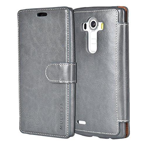 Mulbess LG G4 hülle Grau,Ledertasche für LG G4 Tasche Leder