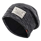 Gisdanchz Black Warm Knitted Hat, Baggy Knitted Hat, Men Thermal Warmer Ladies Fleece Ski Winter Hiking Large Thin Wool Knit Vintage Beanie Hat Stripes for Teens Small Skull Accessories Women Black