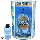 Resina poliestere liquida trasparente bicomponente per barche stampi da colata 5 litri con catalizzatore