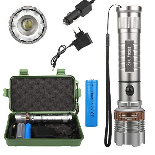 Super Helle Taschenlampe 3000LM T6 LED Taschenlampe Wiederaufladbare High Power LED Zoomable Taktische Taschenlampe für Outdoor Camping Wandern + 18650 Ladegerät Box