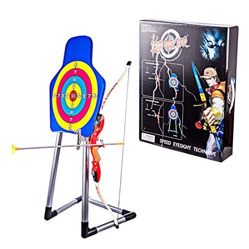 Batop Pfeil und Bogen Kinder Set, Bogenschießen Schießspiele mit Vertikales Ziel, 3 Pfeile Saugnapf, 1 Bogen und 1 Köcher und, Ideal Outdoor Garten Spiel Geschenk für Kinder