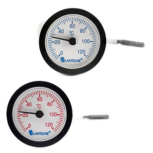 Lantelme 6760 Kapillarthermometer Set mit je 1,55 Meter Fühlerlänge für Heizung - Kessel - Kaltwasser - Analog Thermometer mit Skala in rot und blau
