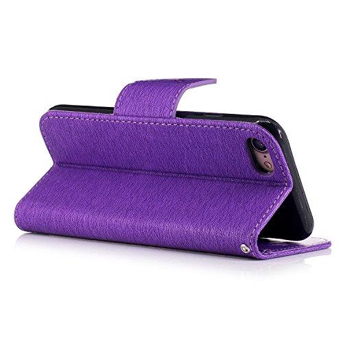 iPhone 7 Hülle,Cozy Hut Schutzhülle / Cover / Handyhülle / Etui / Lederhülle / Leder Tasche Case Cover für iPhone 7 (4.7 Zoll) Hülle PU Schutz Etui Schale Marineblau Bär Muster Design Backcover Flip C Purple Butterfly