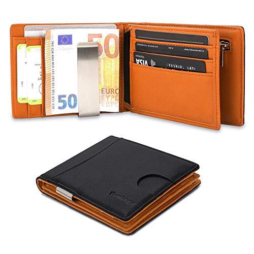 Herren Geldbeutel Geldbörse mit Geldklammer Münzfach und Sichtfenster | RFID Blocker Kreditkartenhalter Karten Portemonnaie | Dünne Brieftasche Portmonee für Männer Schwarz-Braun