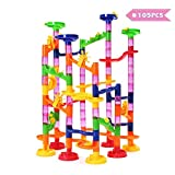 FUNTOK Marble Run Toy, Intelligence Building Blocks, Marble Roller Coaster Game, DIY Construction Toy for Boys&Girls over 3 Years Old(105pcs)