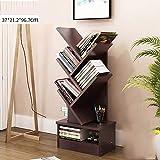 Baum-form Bücherregal, Grosser raum Buch lagerung, Kabinett buch organizer Einfach zu montieren Buch-display-ständer Rack halterung unterstützung Home Office-Schwarze Walnuss 37x21.2x97cm(15x8x38inch)