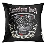 Ntpclsuits Throw Pillow Cover Bike Skull of Biker in Style Design is Easy to Remove Car Decorative Pillow Case Home Decor Square 18x18 Inches Pillowcase