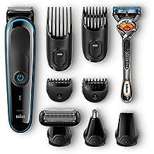 Braun Multigroomer 9-in-1 Bartschneider MGK3080, Rasierer, Trimmer, Bodygroomer mit Gillette Flexball, schwarz/blau