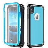 NEXGADGET Funda para iPhone XR 3in1 Combinación a Prueba de Choques con Protector de Pantalla Incorporado Estuche de Parachoques para el Teléfono Celular iPhone XR(Azul)