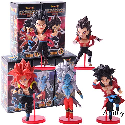 l WCF Super Dragonball Helden vol.3 Super Saiyajin 4 Son Goku Gohan Vegeta Gogeta Action Figure Spielzeug 5 Teile/Satz ()